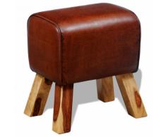 vidaXL Tabouret en cuir authentique Marron 40 x 30 45 cm