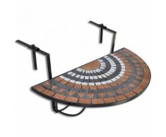 vidaXL Table de balcon suspendue Demi-circulaire Terre cuite Blanc