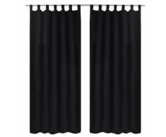 vidaXL 2 pcs Rideau à Passant Micro Satin Noir 140 x 225 cm