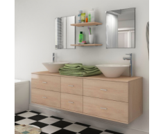 vidaXL 7 pièces de mobilier salle bain et lavabo Beige