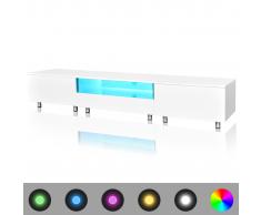 vidaXL Meuble TV LED blanc brillant 200 cm