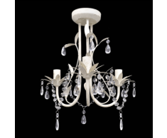 vidaXL Lustre en cristal blanc
