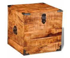 vidaXL Coffre carré en bois brut de manguier