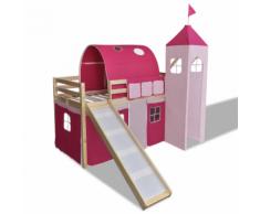 vidaXL Lit mezzanine avec échelle toboggan rose-château princesse