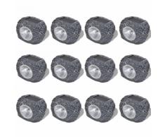 vidaXL Spot LED solaire En forme de pierre 12 pièces