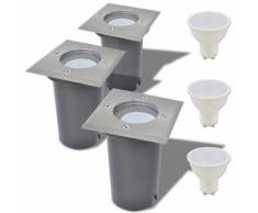 vidaXL Lampe LED encastrable au sol d'extérieur 3 pièces Carré