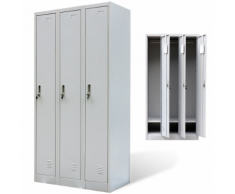 vidaXL Armoire à 3 portes de casier Gris
