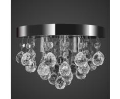vidaXL Lustre plafonnier contemporain cristal lampe chromé