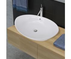 vidaXL Luxueuse vasque céramique ovale avec trop plein 59 x 38,5 cm