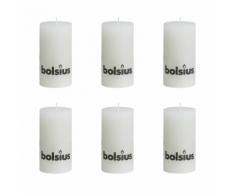 Bolsius Lot de 6 bougies 130 x 68 mm blanc