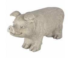 Esschert Design Banc de jardin en pierre forme cochon Gris