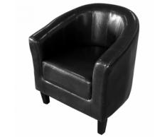 vidaXL Fauteuil cabriolet noir en cuir artificiel