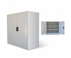 vidaXL Armoire métallique de bureau avec 2 portes 90 cm Gris