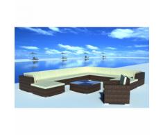 vidaXL Salon de jardin 35 pièces marron en polyrotin