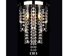 vidaXL Plafonnier en métal blanc avec perles cristal