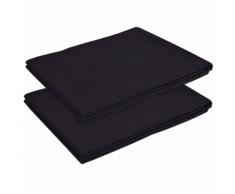 vidaXL Drap pour lit 2 pièces Coton 146 x 260 cm Noir