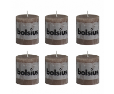 Bolsius Lot de 6 bougies 80 x 68 mm brun clair