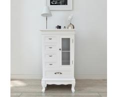 vidaXL Armoire blanche avec 5 tiroirs et 2 étagères