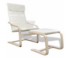 vidaXL Fauteuil en bois courbé couleur crème avec repose-pieds
