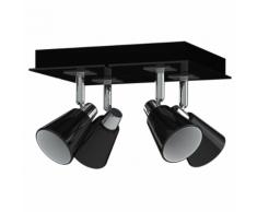 Antonio Miro Plafonnier avec abat-jour en chrome et 4 ampoules Noir