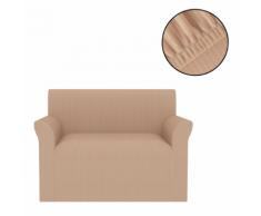 vidaXL Housse de canapé extensible Larges rayures Beige