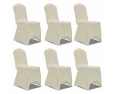 vidaXL Housse crème extensible pour chaise 6 pièces