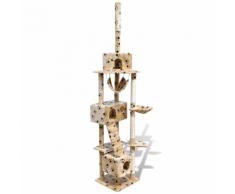 vidaXL Arbre à chat en beige avec empreinte de patte 220-240 cm 3 niches
