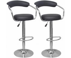 vidaXL Chaise de bar 2 pcs Noir Cuir PU