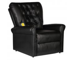 vidaXL Fauteuil de massage électrique inclinable en cuir artificiel noir