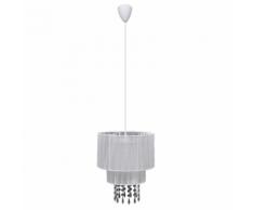 vidaXL Lustre plafonnier contemporain suspension cristal blanc