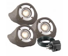 """Garden Lights Projecteur LED 3 pcs """"Lapis"""" Gris Polyrésine"""