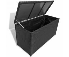vidaXL Coffre de rangement en polyrotin imperméable Noir