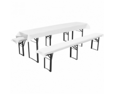 vidaXL Nappe pour table de brasserie avec 2 housses de bancs Blanc 240x90cm