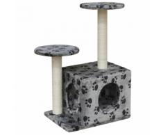 vidaXL Arbre à chat Grattoir 60 cm 1 Niche Gris avec empreinte de patte