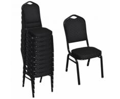 vidaXL Chaise de salle à manger 10 pcs Empilable Tissu Noir