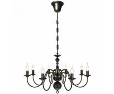 vidaXL Lustre en métal noir antique 8 x E14 ampoules