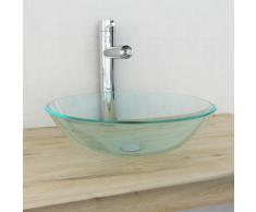 vidaXL Verre trempé de lavabo 42 cm Transparent