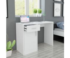 vidaXL Bureau avec tiroir et placard 100x40x73 cm Blanc