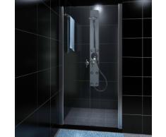 vidaXL Porte de douche battante verre sécurit transparent 80cm