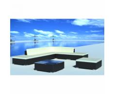vidaXL Salon de jardin 20 pièces noir en polyrotin