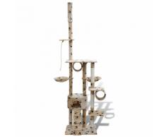 vidaXL Arbre à chat en beige avec empreinte de patte 220-240 cm 1 niche