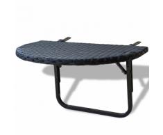 vidaXL Table de balcon en rotin synthétique noir