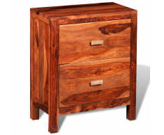 vidaXL Table de chevet en bois sheesham solide avec 2 tiroirs