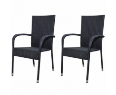 vidaXL Chaise de jardin 2 pcs Rotin synthétique Noir