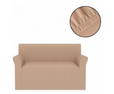 vidaXL Housse extensible de canapé Larges rayures Beige
