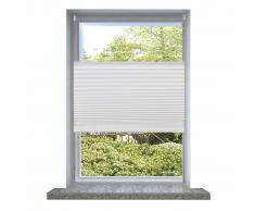 vidaXL Store plissé en blanc 110 x 200 cm