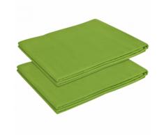 vidaXL Drap pour lit 2 pièces Coton 146 x 260 cm Vert pomme