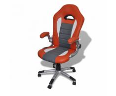vidaXL Fauteuil en similicuir moderne de bureau design orange