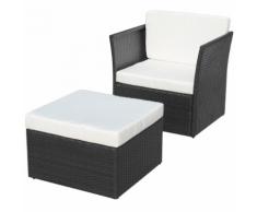 vidaXL Chaise de jardin avec tabouret Noir Résine tressée