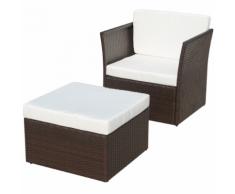 vidaXL Chaise de jardin avec tabouret Marron Résine tressée